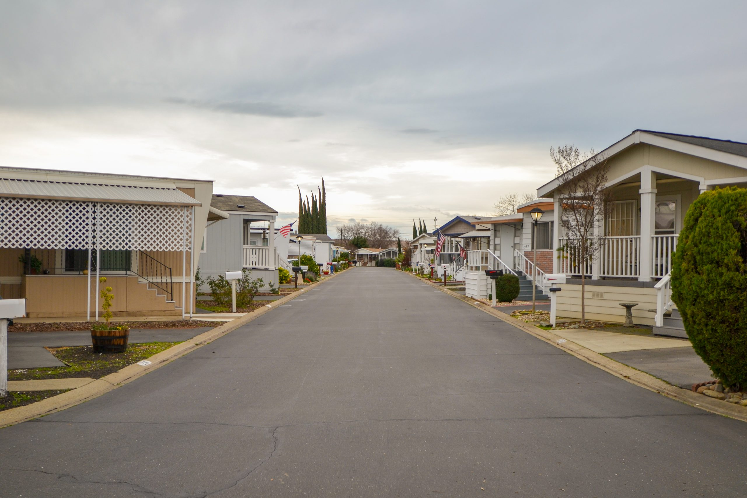 mobile home community row of houses along main road